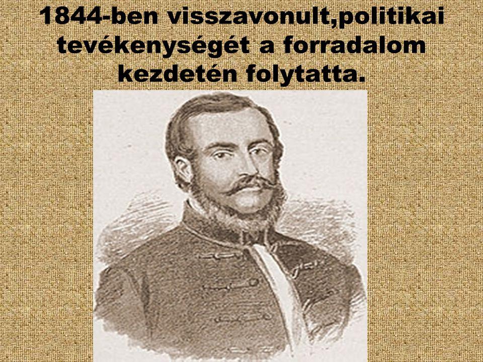 Tagja volt a Batthyány- kormánynak, a földművelés, ipar és kereskedelem minisztere.1848.