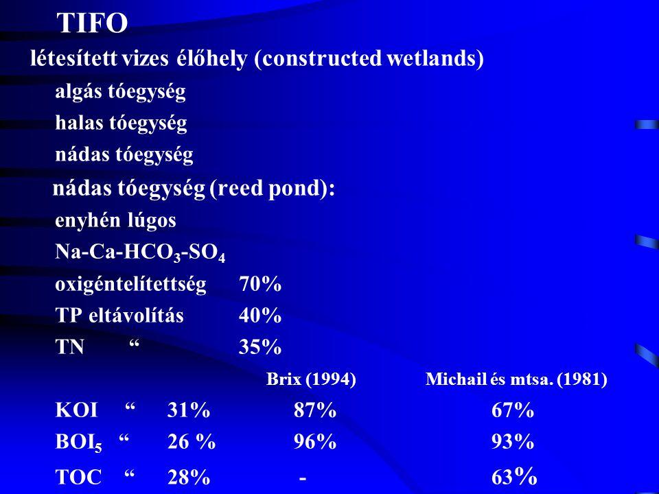 TIFO létesített vizes élőhely (constructed wetlands) algás tóegység halas tóegység nádas tóegység nádas tóegység (reed pond): enyhén lúgos Na-Ca-HCO 3