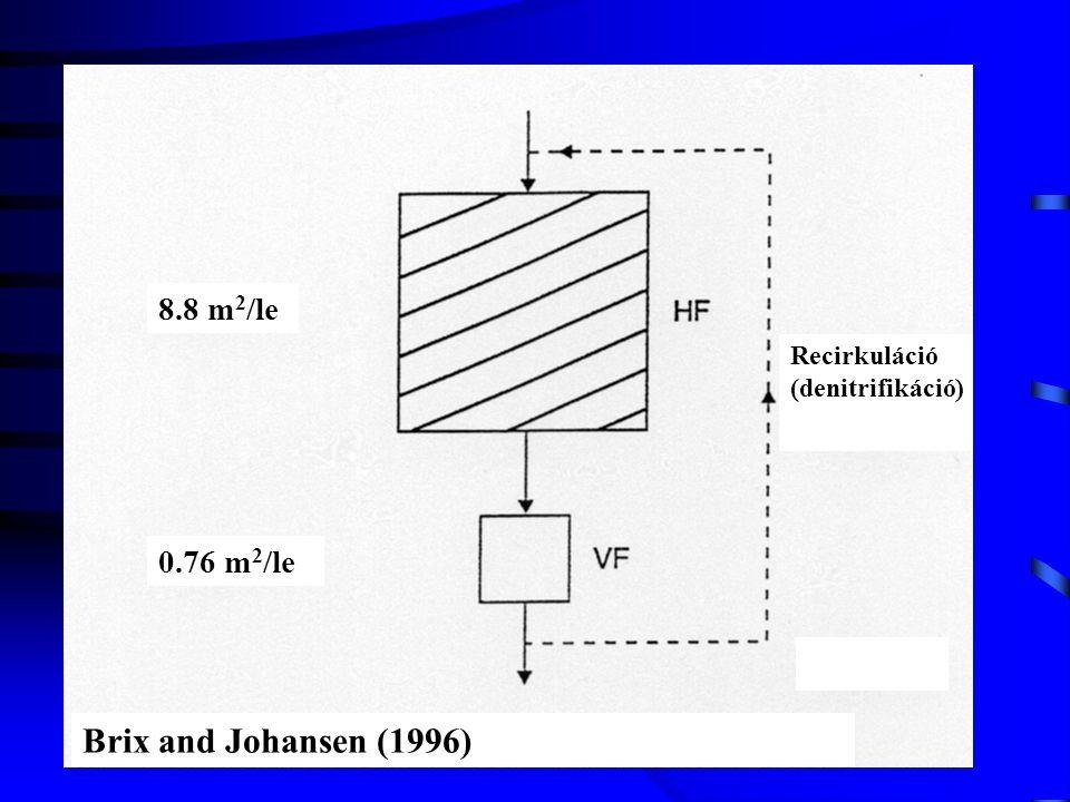 Recirkuláció (denitrifikáció) Brix and Johansen (1996) 8.8 m 2 /le 0.76 m 2 /le