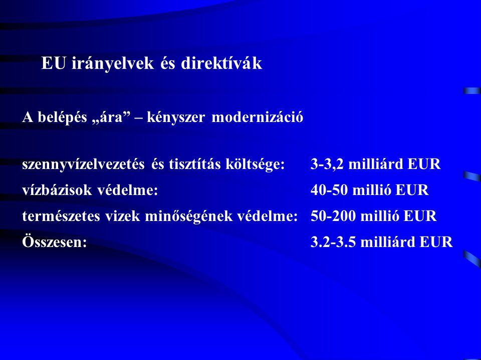 """EU irányelvek és direktívák A belépés """"ára"""" – kényszer modernizáció szennyvízelvezetés és tisztítás költsége:3-3,2 milliárd EUR vízbázisok védelme:40-"""