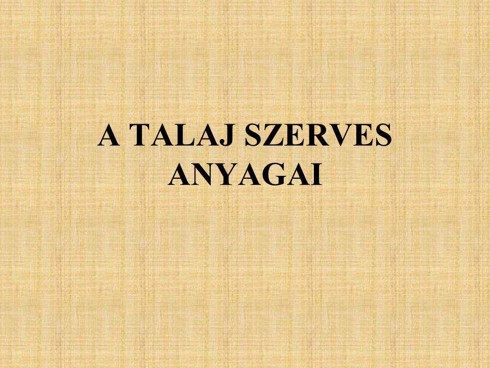 A TALAJ SZERVES ANYAGAI
