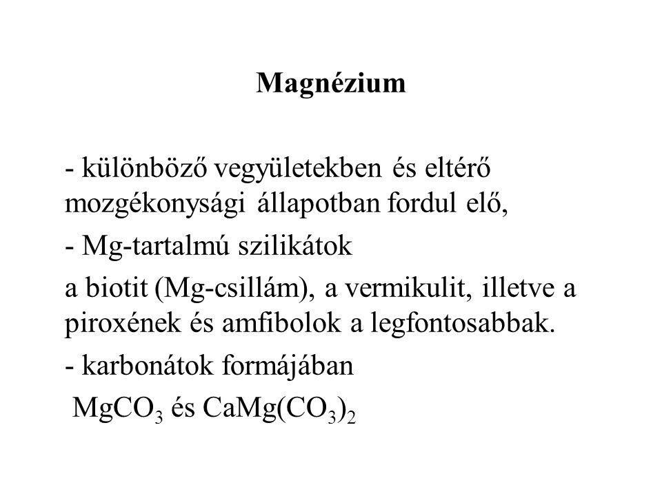 Magnézium - különböző vegyületekben és eltérő mozgékonysági állapotban fordul elő, - Mg-tartalmú szilikátok a biotit (Mg-csillám), a vermikulit, illetve a piroxének és amfibolok a legfontosabbak.