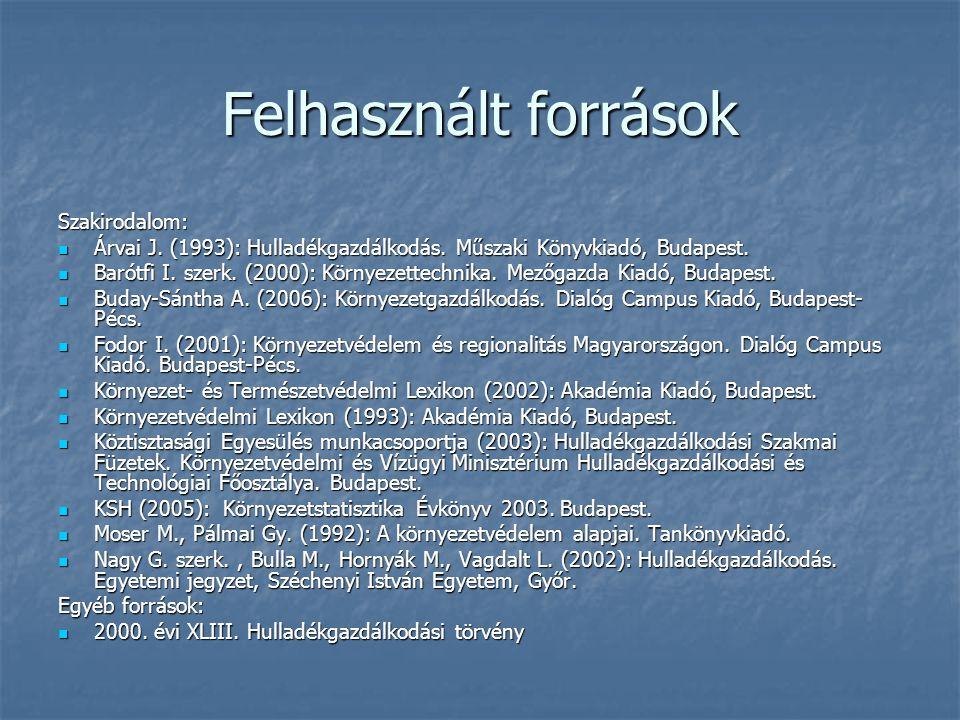 Felhasznált források Szakirodalom: Árvai J. (1993): Hulladékgazdálkodás. Műszaki Könyvkiadó, Budapest. Árvai J. (1993): Hulladékgazdálkodás. Műszaki K