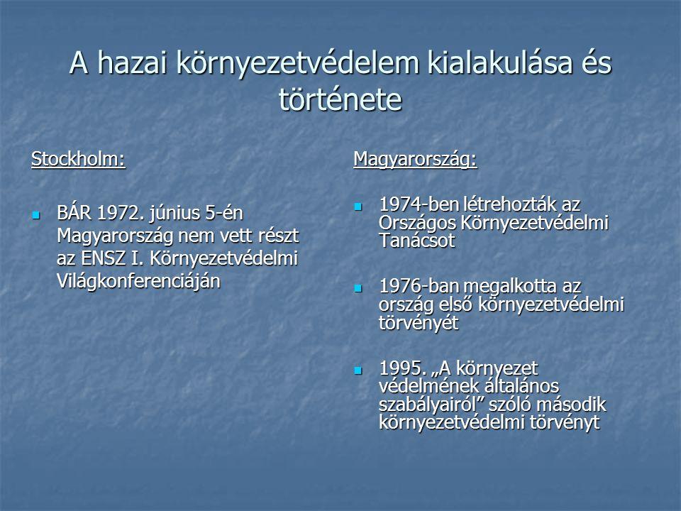 A hazai környezetvédelem kialakulása és története Stockholm: BÁR 1972. június 5-én Magyarország nem vett részt az ENSZ I. Környezetvédelmi Világkonfer