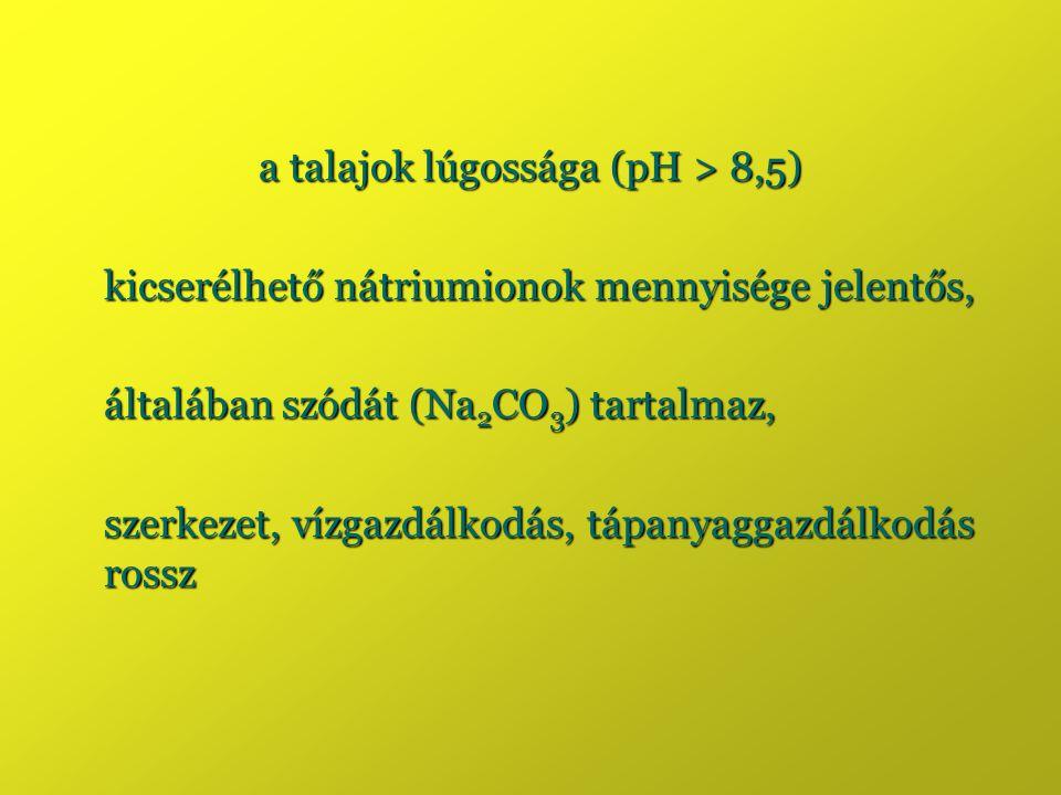 a talajok lúgossága (pH > 8,5) kicserélhető nátriumionok mennyisége jelentős, általában szódát (Na 2 CO 3 ) tartalmaz, szerkezet, vízgazdálkodás, tápa