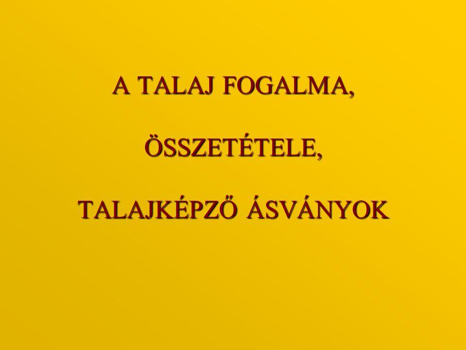 A TALAJ FOGALMA, ÖSSZETÉTELE, TALAJKÉPZŐ ÁSVÁNYOK