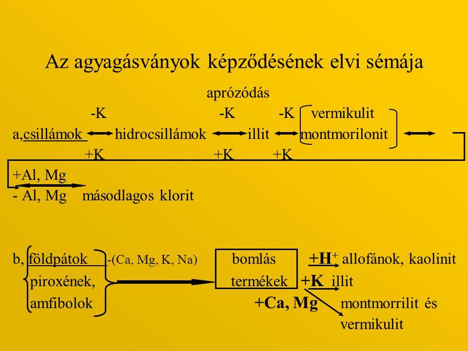 Az agyagásványok képződésének elvi sémája aprózódás -K -K -K vermikulit a,csillámok hidrocsillámok illit montmorilonit +K +K +K +Al, Mg - Al, Mg másod