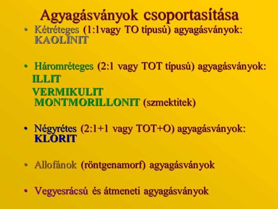 Agyagásványok csoportasítása Kétréteges (1:1vagy TO típusú) agyagásványok: KAOLINITKétréteges (1:1vagy TO típusú) agyagásványok: KAOLINIT Háromréteges
