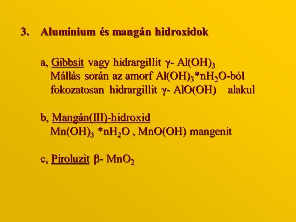 3.Alumínium és mangán hidroxidok a, Gibbsit vagy hidrargillit γ- Al(OH) 3 Mállás során az amorf Al(OH) 3 *nH 2 O-ból fokozatosan hidrargillit γ- AlO(O