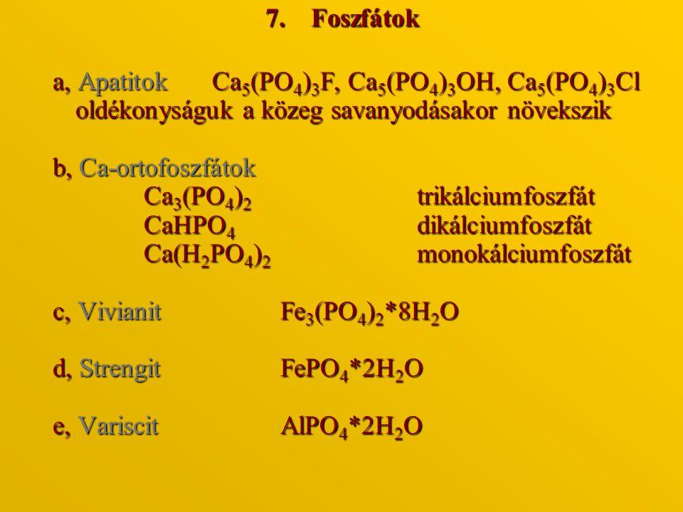 7.Foszfátok a, Apatitok Ca 5 (PO 4 ) 3 F, Ca 5 (PO 4 ) 3 OH, Ca 5 (PO 4 ) 3 Cl oldékonyságuk a közeg savanyodásakor növekszik b, Ca-ortofoszfátok Ca 3