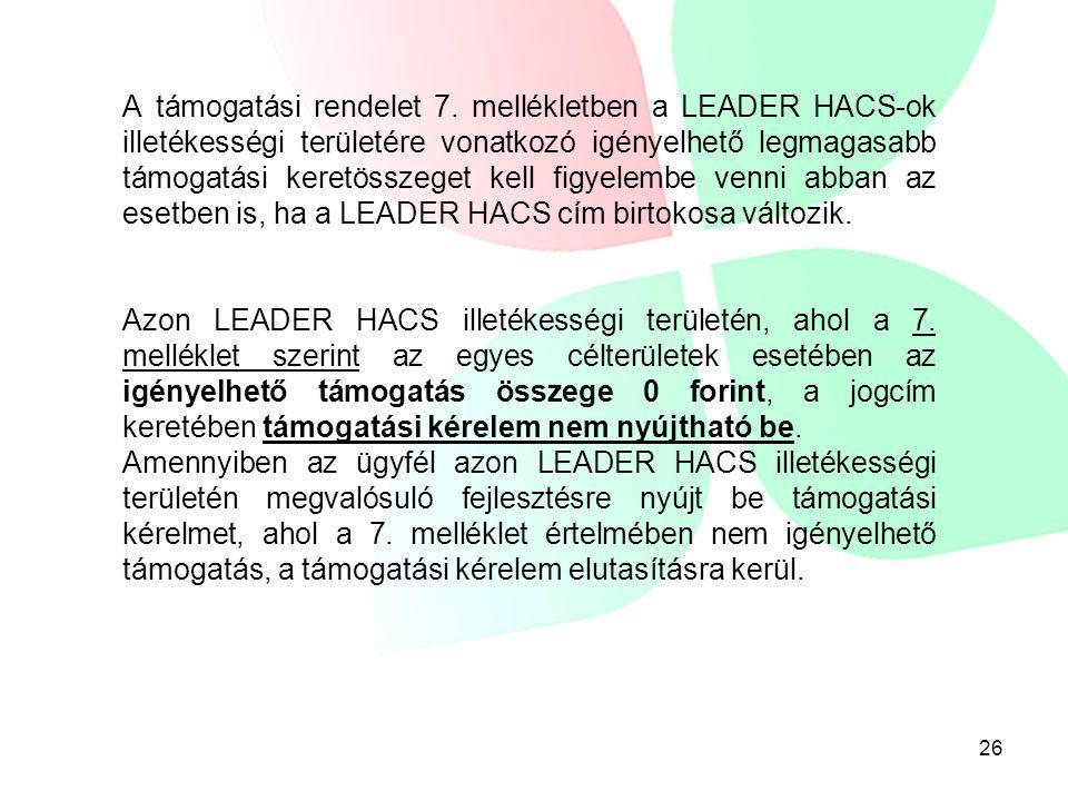 26 A támogatási rendelet 7. mellékletben a LEADER HACS-ok illetékességi területére vonatkozó igényelhető legmagasabb támogatási keretösszeget kell fig