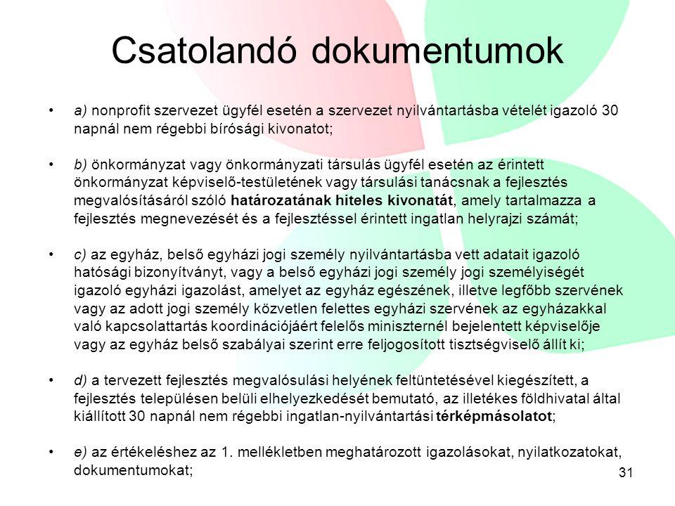 32 Csatolandó dokumentumok f) a Vhr.27.