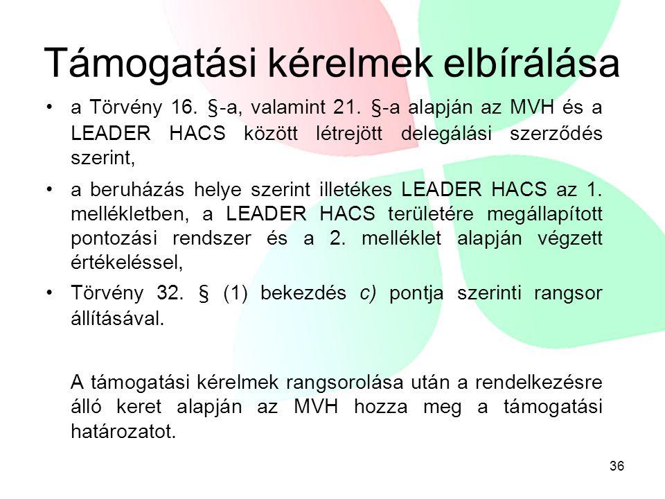 36 Támogatási kérelmek elbírálása a Törvény 16. §-a, valamint 21. §-a alapján az MVH és a LEADER HACS között létrejött delegálási szerződés szerint, a