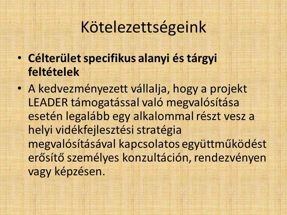 Kötelezettségeink Célterület specifikus alanyi és tárgyi feltételek A kedvezményezett vállalja, hogy a projekt LEADER támogatással való megvalósítása