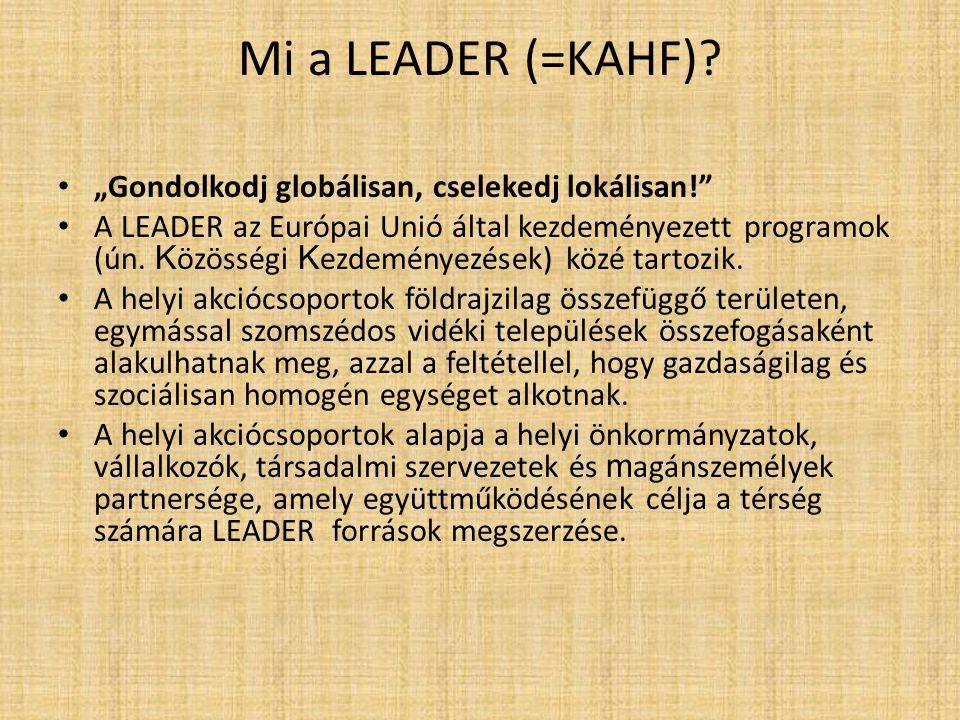 """Mi a LEADER (=KAHF)? """"Gondolkodj globálisan, cselekedj lokálisan!"""" A LEADER az Európai Unió által kezdeményezett programok (ún. K özösségi K ezdeménye"""