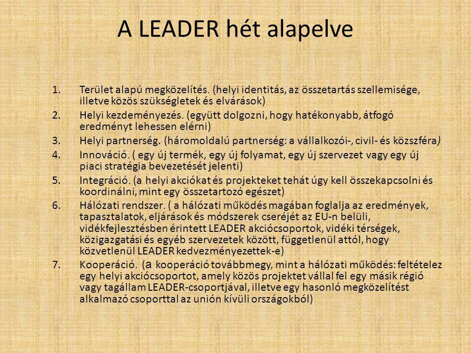 A LEADER hét alapelve 1.Terület alapú megközelítés. (helyi identitás, az összetartás szellemisége, illetve közös szükségletek és elvárások) 2.Helyi ke