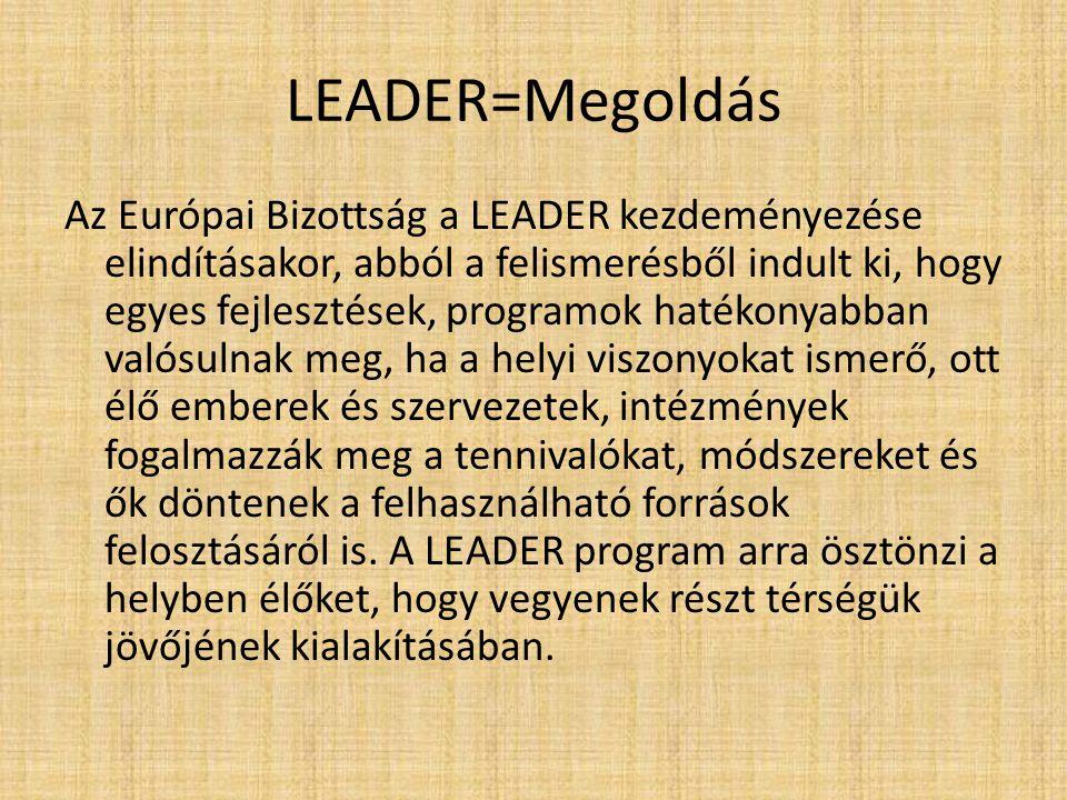LEADER=Megoldás Az Európai Bizottság a LEADER kezdeményezése elindításakor, abból a felismerésből indult ki, hogy egyes fejlesztések, programok hatéko
