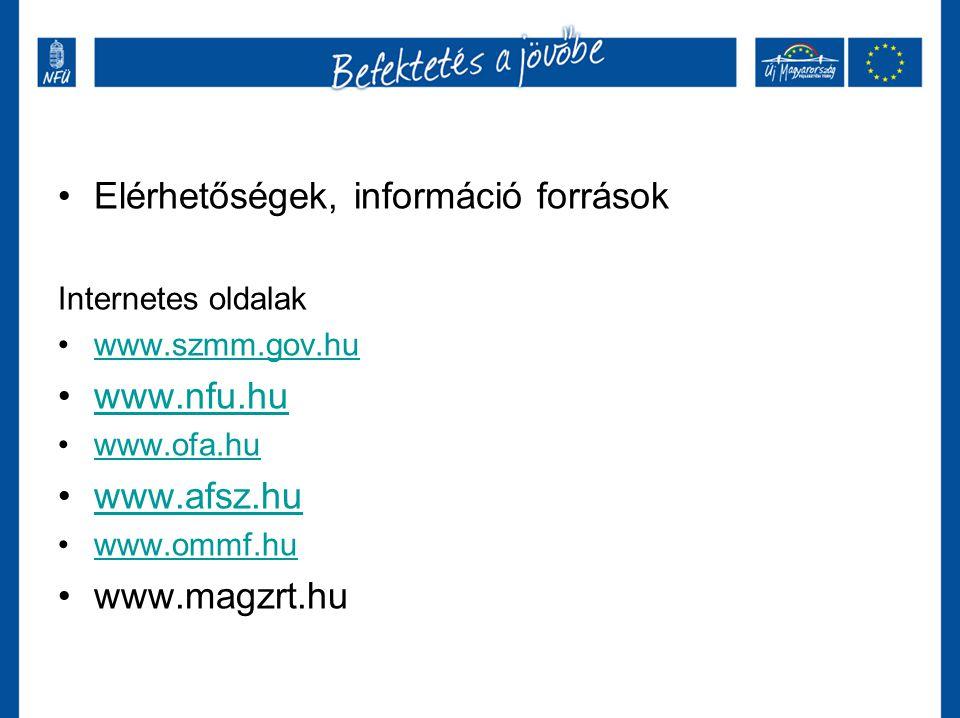 Elérhetőségek, információ források Internetes oldalak www.szmm.gov.hu www.nfu.hu www.ofa.hu www.afsz.hu www.ommf.hu www.magzrt.hu