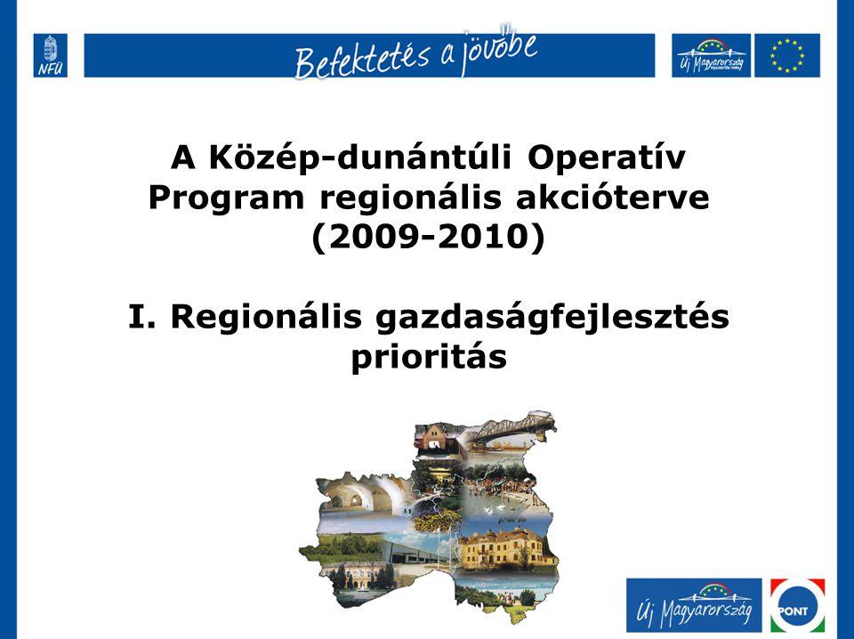 A Közép-dunántúli Operatív Program regionális akcióterve (2009-2010) I. Regionális gazdaságfejlesztés prioritás