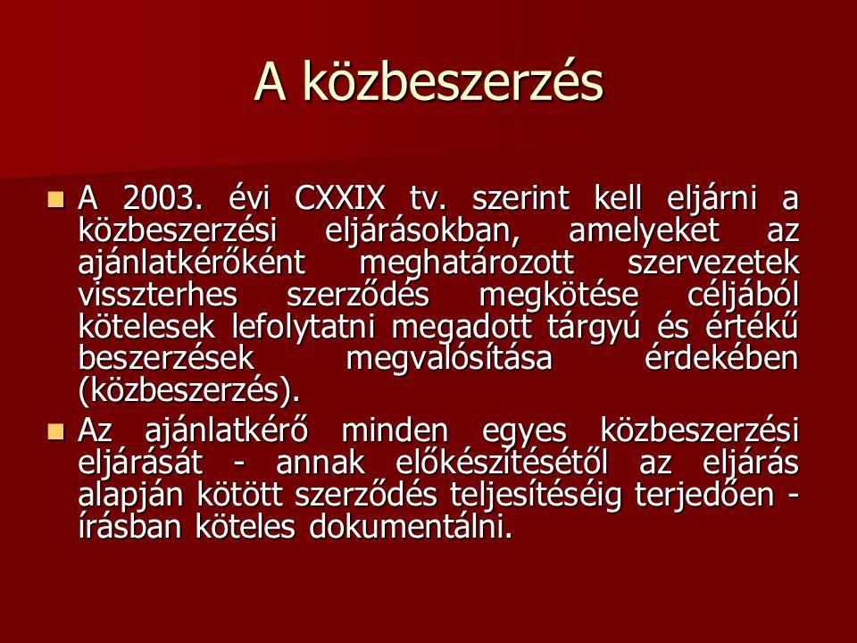 A 2003. évi CXXIX tv. szerint kell eljárni a közbeszerzési eljárásokban, amelyeket az ajánlatkérőként meghatározott szervezetek visszterhes szerződés