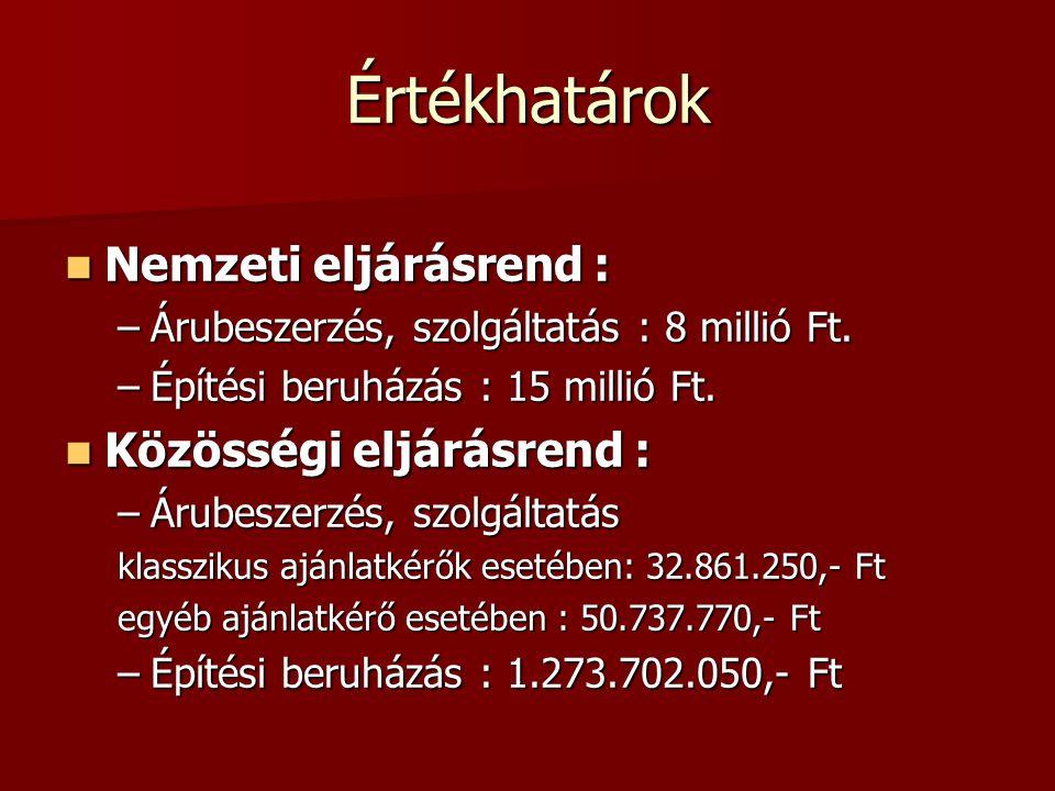 Értékhatárok Nemzeti eljárásrend : Nemzeti eljárásrend : –Árubeszerzés, szolgáltatás : 8 millió Ft. –Építési beruházás : 15 millió Ft. Közösségi eljár
