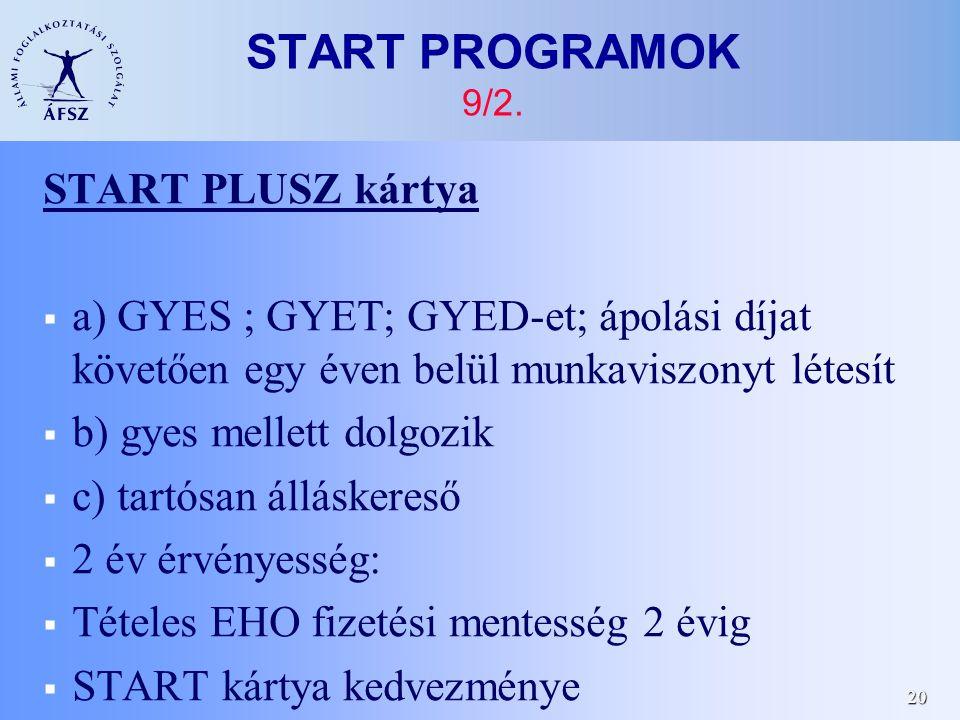 20 START PROGRAMOK 9/2.