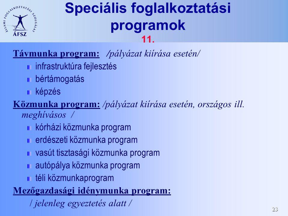 23 Speciális foglalkoztatási programok 11.