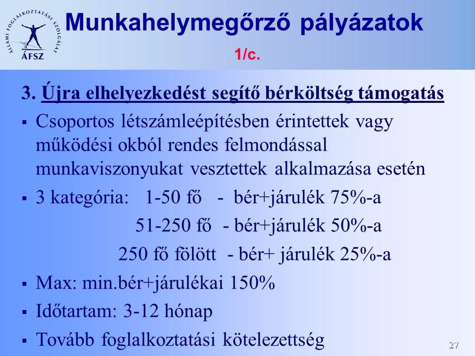 27 Munkahelymegőrző pályázatok 1/c.3.