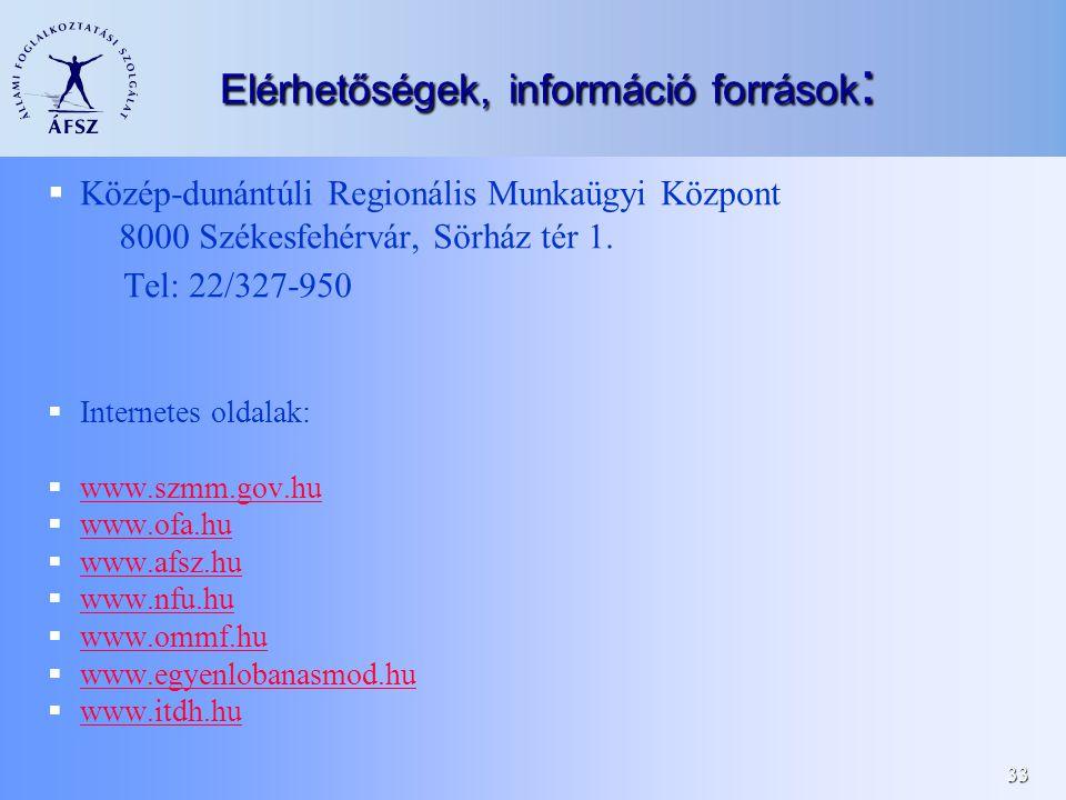 33 Elérhetőségek, információ források :  Közép-dunántúli Regionális Munkaügyi Központ 8000 Székesfehérvár, Sörház tér 1.