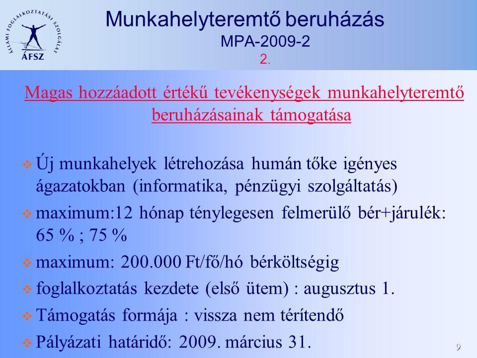 30 Munkahelymegőrző pályázatok 1/f.