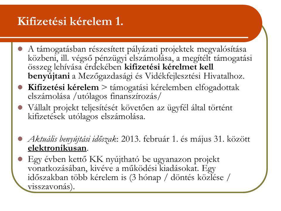 Kifizetési kérelem 1. A támogatásban részesített pályázati projektek megvalósítása közbeni, ill. végső pénzügyi elszámolása, a megítélt támogatási öss