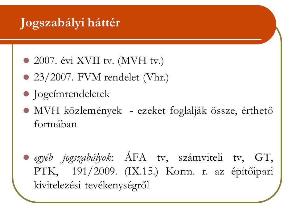 Jogszabályi háttér 2007. évi XVII tv. (MVH tv.) 23/2007. FVM rendelet (Vhr.) Jogcímrendeletek MVH közlemények - ezeket foglalják össze, érthető formáb