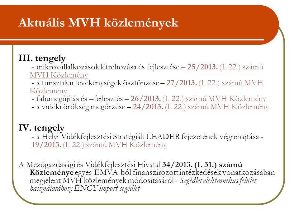 Aktuális MVH közlemények III. tengely - mikrovállalkozások létrehozása és fejlesztése – 25/2013. (I. 22.) számú MVH Közlemény - a turisztikai tevékeny