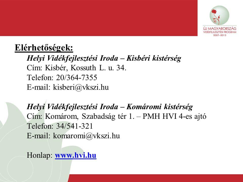 Elérhetőségek: Helyi Vidékfejlesztési Iroda – Kisbéri kistérség Cím: Kisbér, Kossuth L. u. 34. Telefon: 20/364-7355 E-mail: kisberi@vkszi.hu Helyi Vid