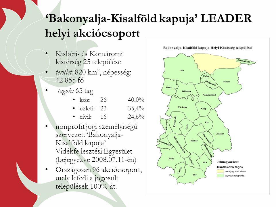 'Bakonyalja-Kisalföld kapuja' LEADER helyi akciócsoport Kisbéri- és Komáromi kistérség 25 települése terület: 820 km 2, népesség: 42 855 fő tagok: 65 tag köz:2640,0% üzleti: 2335,4% civil:1624,6% nonprofit jogi személyiségű szervezet: 'Bakonyalja- Kisalföld kapuja' Vidékfejlesztési Egyesület (bejegyezve 2008.07.11-én) Országosan 96 akciócsoport, mely lefedi a jogosult települések 100%-át.