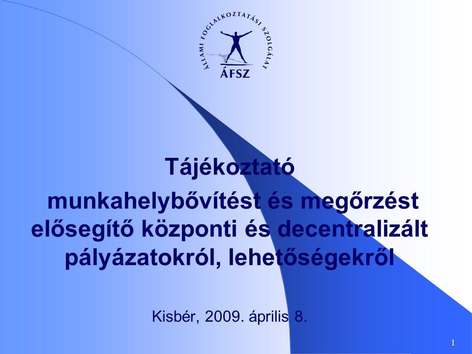 1 Tájékoztató munkahelybővítést és megőrzést elősegítő központi és decentralizált pályázatokról, lehetőségekről Kisbér, 2009.