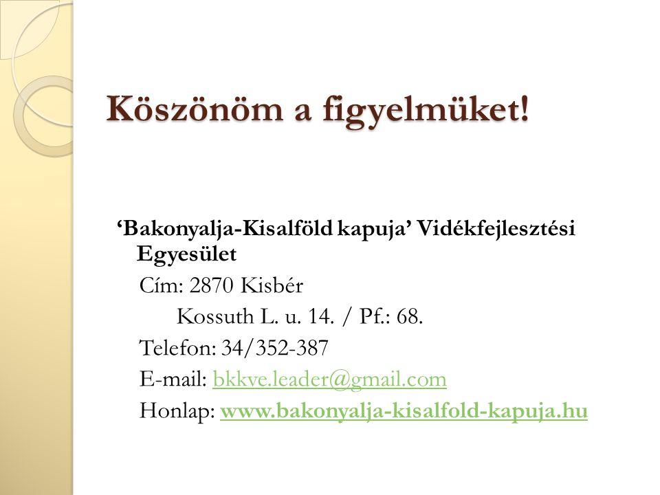 Köszönöm a figyelmüket! 'Bakonyalja-Kisalföld kapuja' Vidékfejlesztési Egyesület Cím: 2870 Kisbér Kossuth L. u. 14. / Pf.: 68. Telefon: 34/352-387 E-m