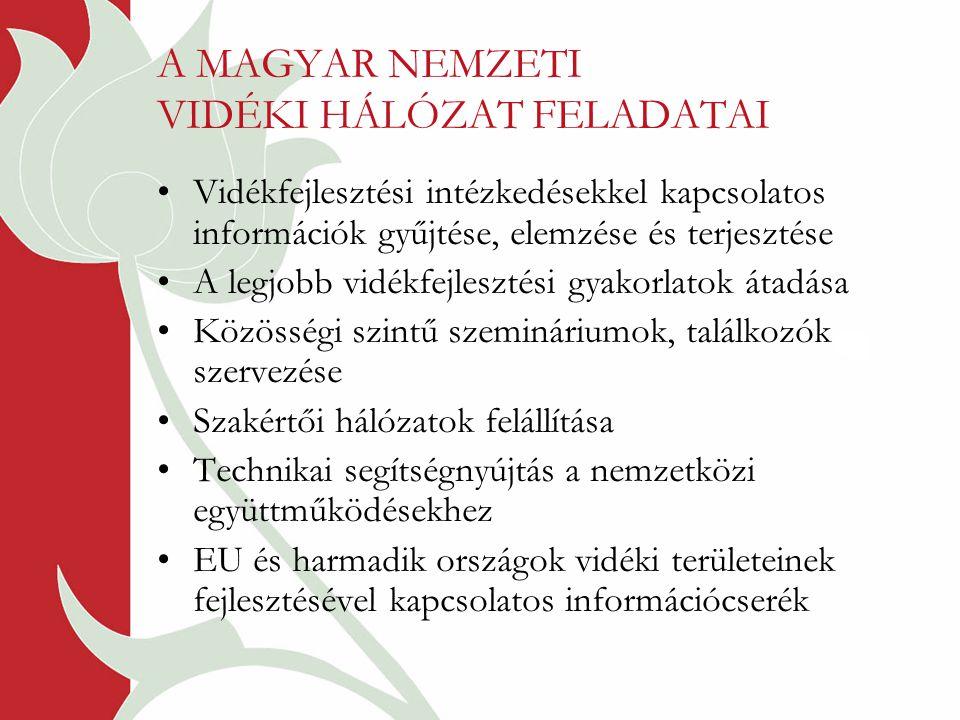 A MAGYAR NEMZETI VIDÉKI HÁLÓZAT FELADATAI Vidékfejlesztési intézkedésekkel kapcsolatos információk gyűjtése, elemzése és terjesztése A legjobb vidékfejlesztési gyakorlatok átadása Közösségi szintű szemináriumok, találkozók szervezése Szakértői hálózatok felállítása Technikai segítségnyújtás a nemzetközi együttműködésekhez EU és harmadik országok vidéki területeinek fejlesztésével kapcsolatos információcserék