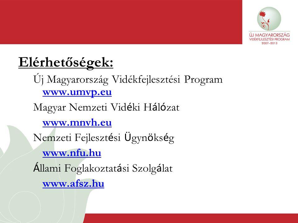 Elérhetőségek: Új Magyarország Vidékfejlesztési Program www.umvp.eu www.umvp.eu Magyar Nemzeti Vid é ki H á l ó zat www.mnvh.eu Nemzeti Fejleszt é si Ü gyn ö ks é g www.nfu.hu Á llami Foglakoztat á si Szolg á lat www.afsz.hu