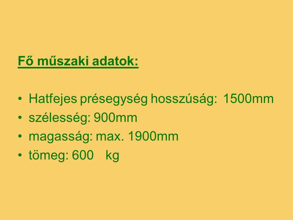 Fő műszaki adatok: Hatfejes présegység hosszúság:1500mm szélesség: 900mm magasság: max. 1900mm tömeg: 600kg