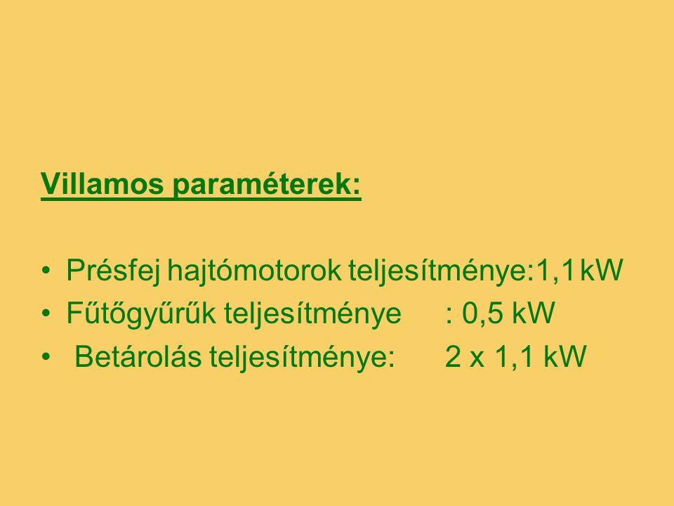 Villamos paraméterek: Présfej hajtómotorok teljesítménye:1,1kW Fűtőgyűrűk teljesítménye: 0,5 kW Betárolás teljesítménye:2 x 1,1 kW