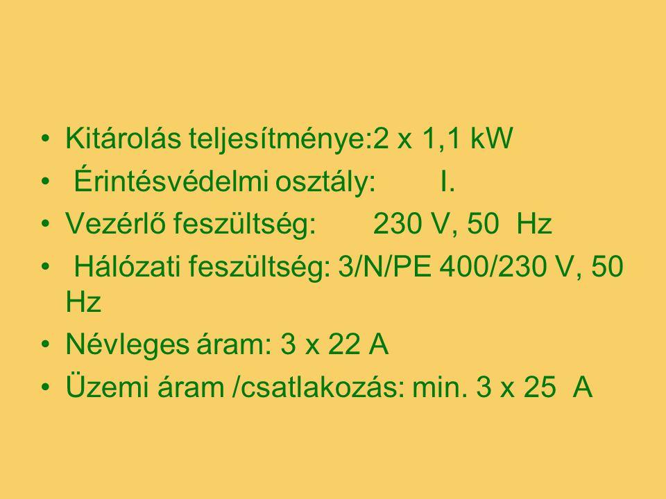 Kitárolás teljesítménye:2 x 1,1 kW Érintésvédelmi osztály:I. Vezérlő feszültség:230 V, 50 Hz Hálózati feszültség: 3/N/PE 400/230 V, 50 Hz Névleges ára
