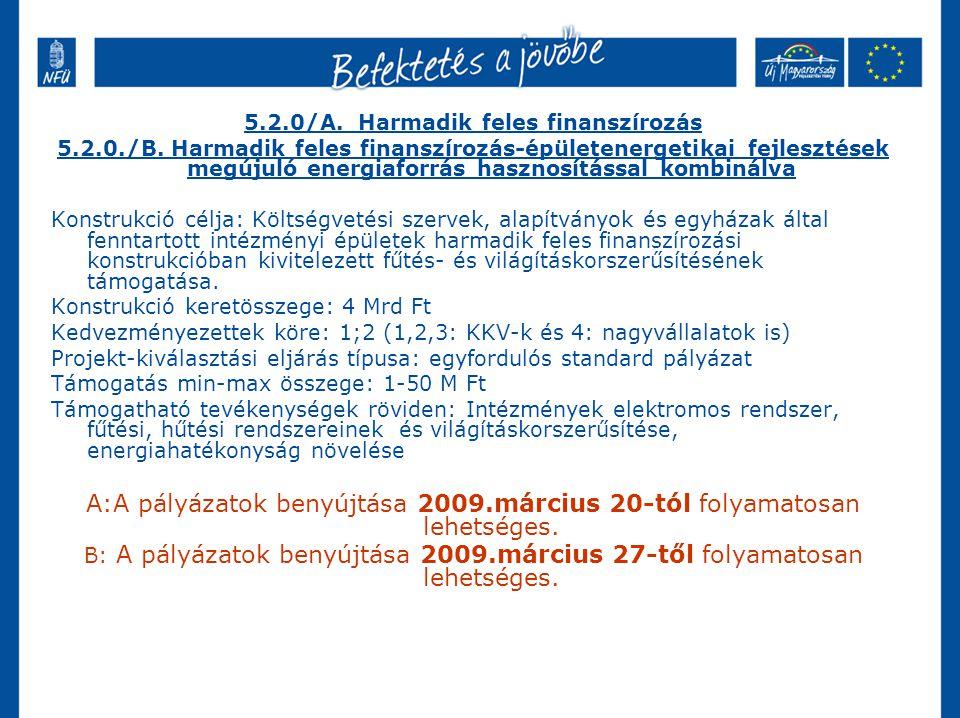 5.2.0/A. Harmadik feles finanszírozás 5.2.0./B.