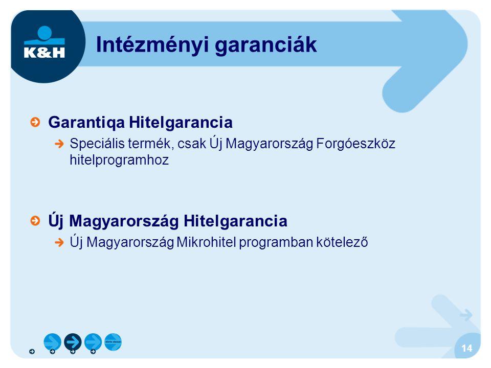 14 Intézményi garanciák Garantiqa Hitelgarancia Speciális termék, csak Új Magyarország Forgóeszköz hitelprogramhoz Új Magyarország Hitelgarancia Új Ma