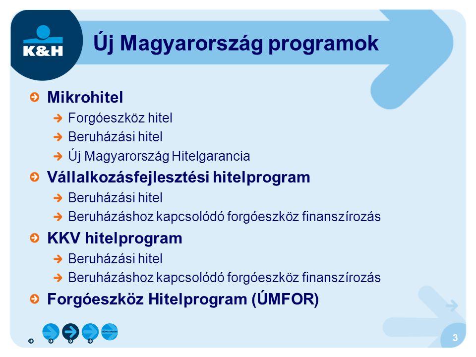 3 Új Magyarország programok Mikrohitel Forgóeszköz hitel Beruházási hitel Új Magyarország Hitelgarancia Vállalkozásfejlesztési hitelprogram Beruházási