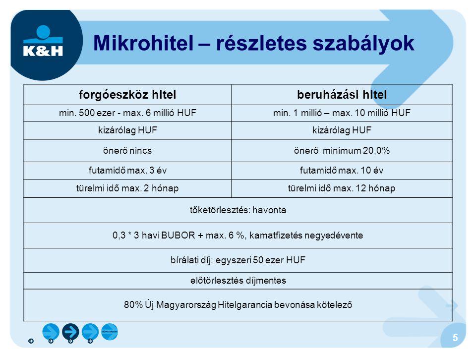 5 Mikrohitel – részletes szabályok forgóeszköz hitelberuházási hitel min. 500 ezer - max. 6 millió HUFmin. 1 millió – max. 10 millió HUF kizárólag HUF