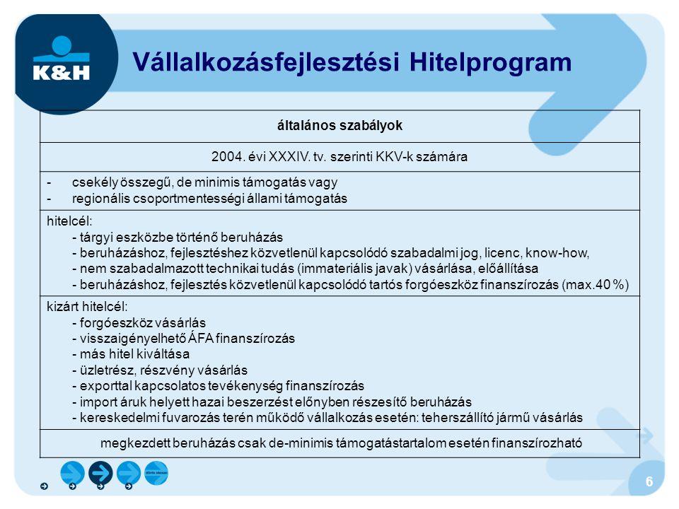 6 Vállalkozásfejlesztési Hitelprogram általános szabályok 2004. évi XXXIV. tv. szerinti KKV-k számára -csekély összegű, de minimis támogatás vagy -reg