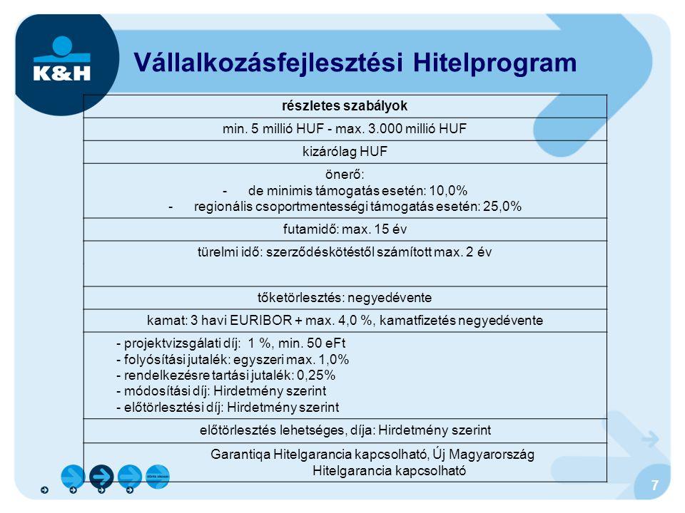 7 Vállalkozásfejlesztési Hitelprogram részletes szabályok min. 5 millió HUF - max. 3.000 millió HUF kizárólag HUF önerő: -de minimis támogatás esetén: