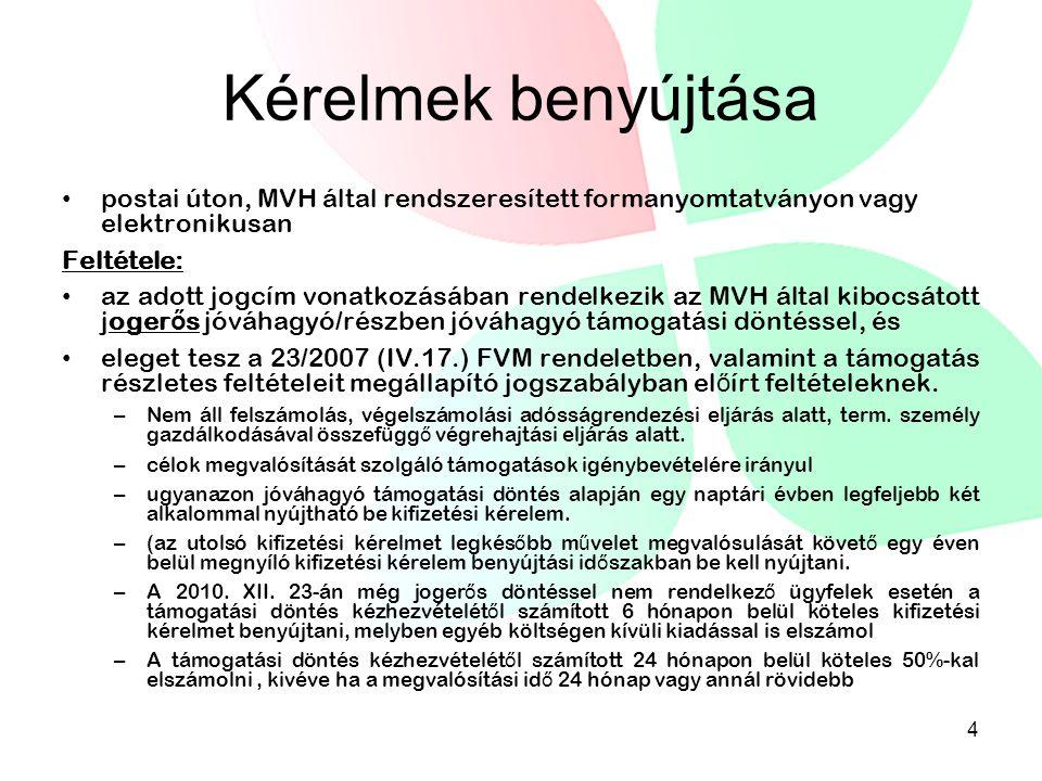 Kérelmek benyújtása postai úton, MVH által rendszeresített formanyomtatványon vagy elektronikusan Feltétele: az adott jogcím vonatkozásában rendelkezik az MVH által kibocsátott joger ő s jóváhagyó/részben jóváhagyó támogatási döntéssel, és eleget tesz a 23/2007 (IV.17.) FVM rendeletben, valamint a támogatás részletes feltételeit megállapító jogszabályban el ő írt feltételeknek.