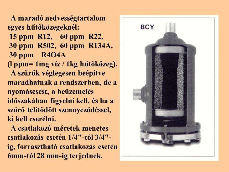 A maradó nedvességtartalom egyes hűtőközegeknél: 15 ppm R12, 60 ppm R22, 30 ppm R502, 60 ppm R134A, 30 ppm R4O4A (l ppm= 1mg víz / 1kg hűtőközeg).